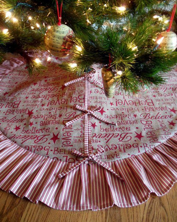 Burlap Christmas Tree Skirt BELIEVE Burlap Tree by Circle25Designs, $120.00