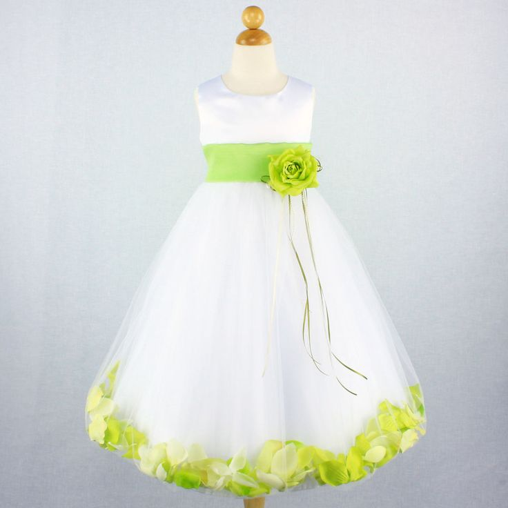 WHITE LIME GREEN Flower Girl Dress Bridal Wedding Party Petals Recital Birthday #Dressy
