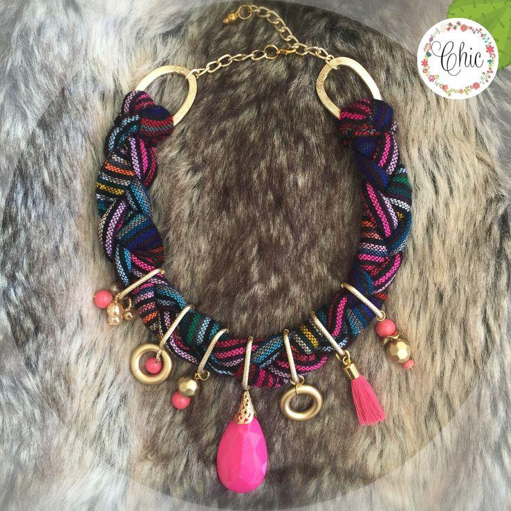 Un favorito personal de mi tienda Etsy https://www.etsy.com/mx/listing/266344881/collar-rosa-mexicano-trenzado