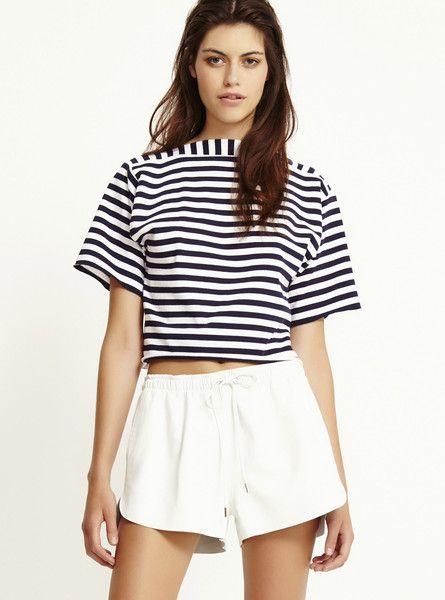 BEC & BRIDGE - Ochre Stripe Tee - Breton Stripes - High Neck  $110.00