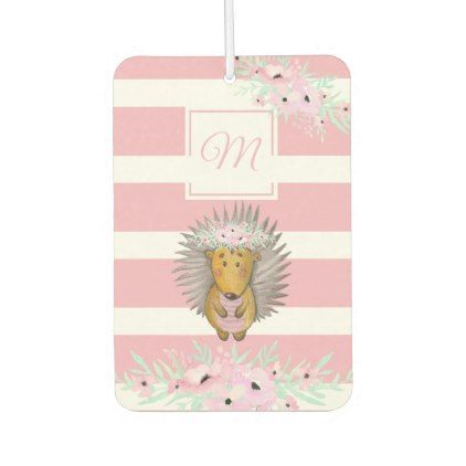 Cute Hedgehog Watercolor Pink Floral Stripe Car Air Freshener - floral style flower flowers stylish diy personalize
