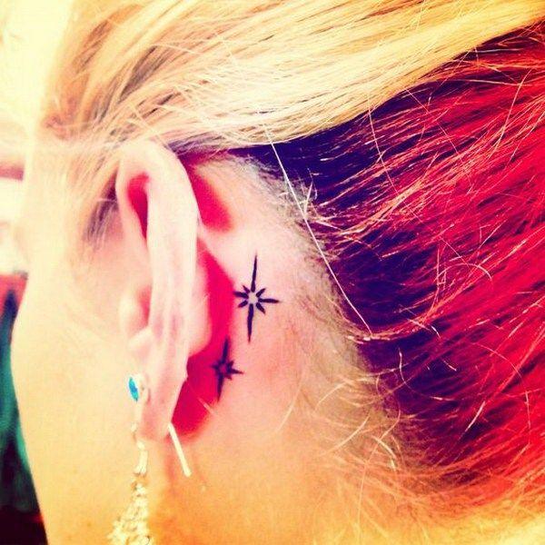 Behind the ear star tattoos