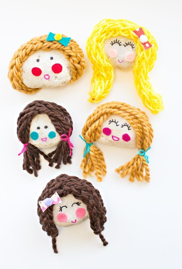 Kid-Made Cute Rock Doll Faces. Kids will love making these adorable rock dolls with just a few simple items.