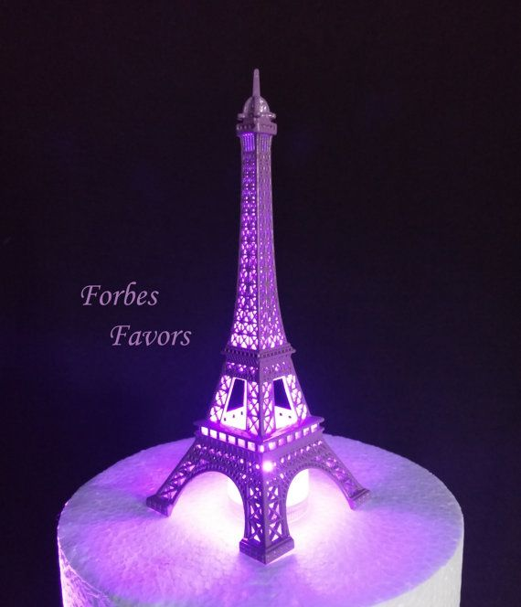 Military Ball Decorations: 10 Inch Purple Metal Eiffel Tower Paris Theme By