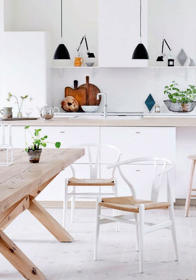 scandanavian kitchen / would add a pop of color somewhere or texture