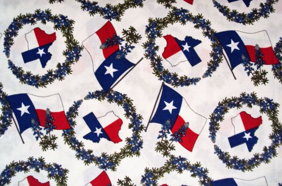 BLUEBONNETS TEXAS Moda western quilt fabric cowboys horses RED flag Quilt Across Texas 1 yard 32512-11 oop via Etsy
