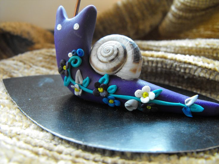 fimo snail with real coiled shell