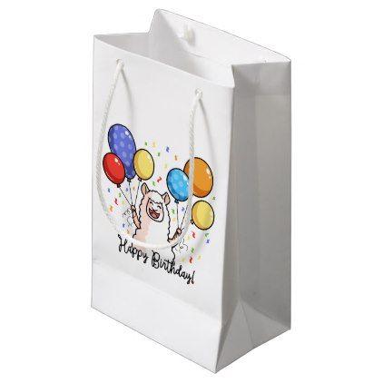 Happy Birthday Llama Small Gift Bag - birthday gifts party celebration custom gift ideas diy