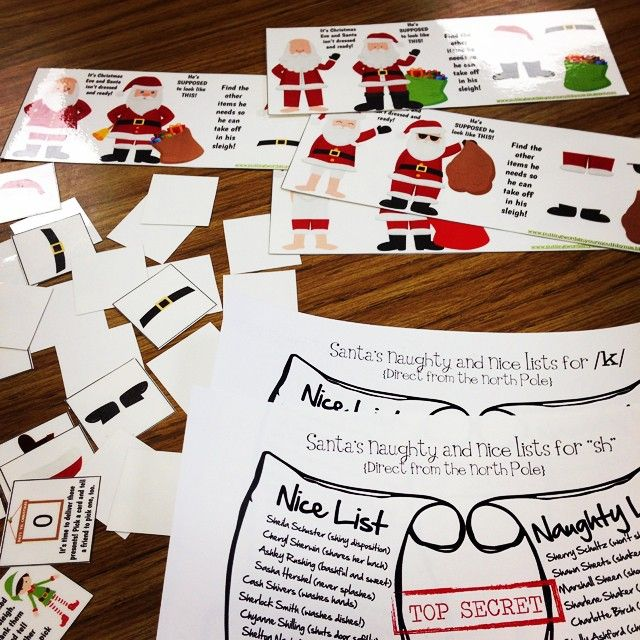 Santa's Naughty & Nice  Articulation Lists along with Suit Up Santa Game makes for lots of giggles in speech therapy!