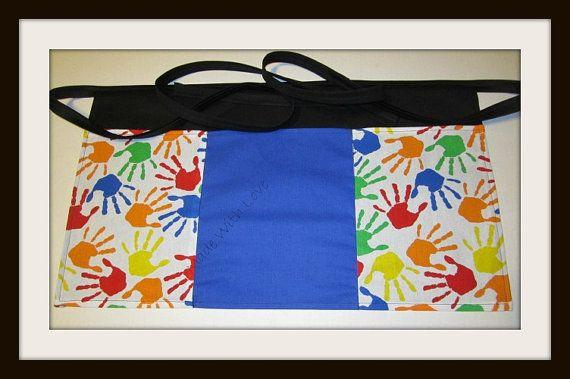child hand print apron,teacher apron, teacher aprons, daycare aprons, 3 pocket aprons,half aprons,