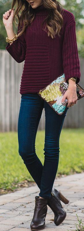 Burgundy sweater, dark wash skinny jeans, black booties