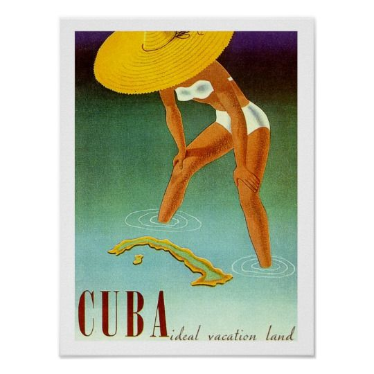 Cuba Isle Bikini Girl Travel Poster