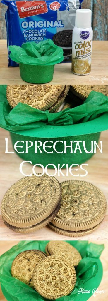Spray Wilton Gold Color Mist to sandwich cookies to create fun Leprechaun Cookies for St. Patrick's Day! Project from mamacheaps.com