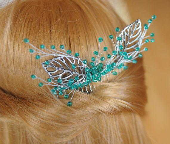 teal green branch hair branch comb branch hair by MyGlassLampwork