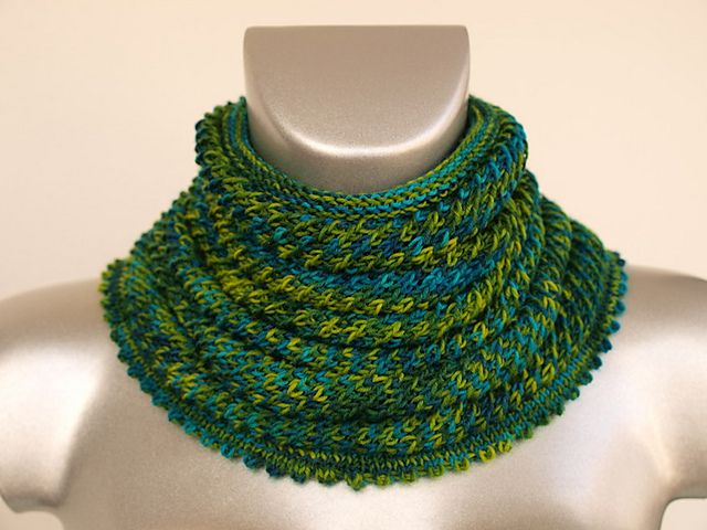Willow Cowl, pattern by Amelia Lyon free from Ravelry Uses 1 skein of sock ya...