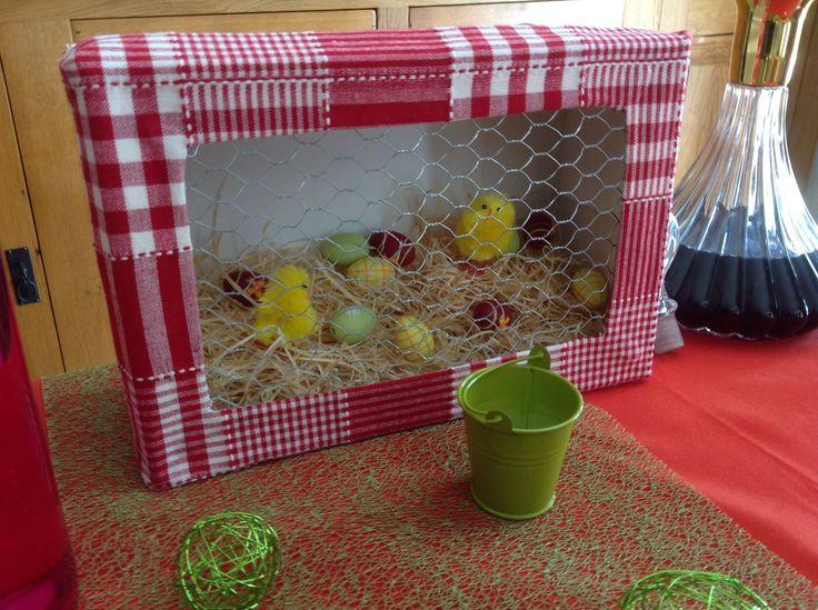 Mon petit poulailler de Pâques ! Une déco qui a son charme réalisée à partir d'une boîte à chaussures !