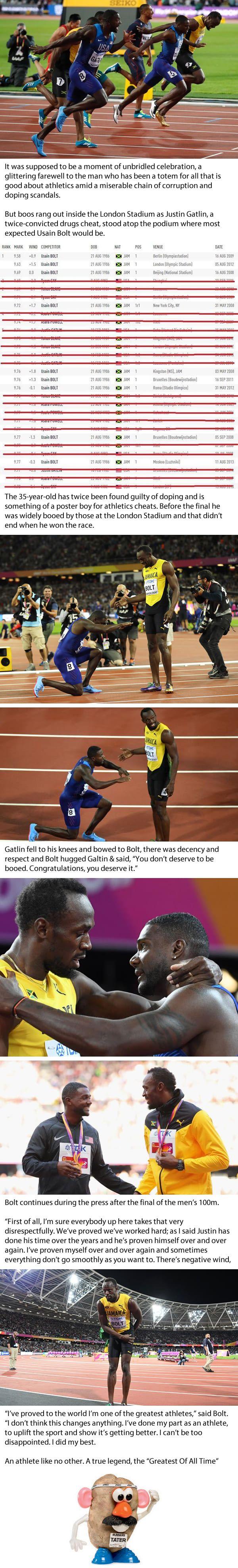 Usain Bolt Insists Justin Gatlin Did Not Deserve Boos But Deserved The 100m World Title
