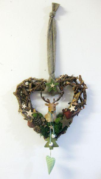 Türkranz - Hirsch - Wald - weihnachtlich von kunstbedarf24 auf DaWanda.com