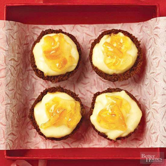 Our delicious baby cheesecakes boast a gingersnap crust, a creamy cheesecake layer, and an orange marmalade finish. Bonus: At less than 150 calories per serving, this tasty muffin tin recipe is a healthy dessert option, too.