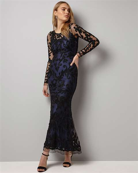 2077a67ad8c Chic Phase Eight Outlet - Black Midnight Aubree Tapework Maxi Dress Uk  https