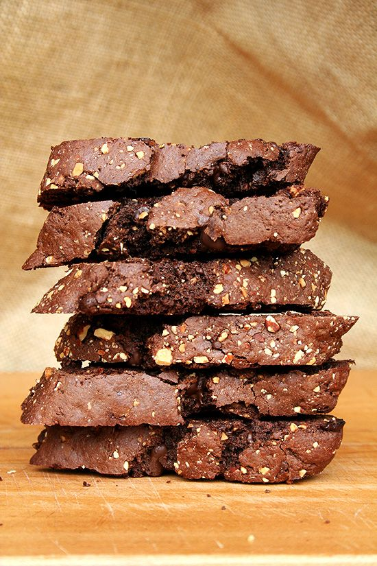 David Lebovitz' Chocolate Biscotti — Great Recipe // These are divine. Perfectly sweet. Not too hard. Crumbly. Soft. Not too soft. Loaded with chocolate and studded with almonds. // @alexandracooks