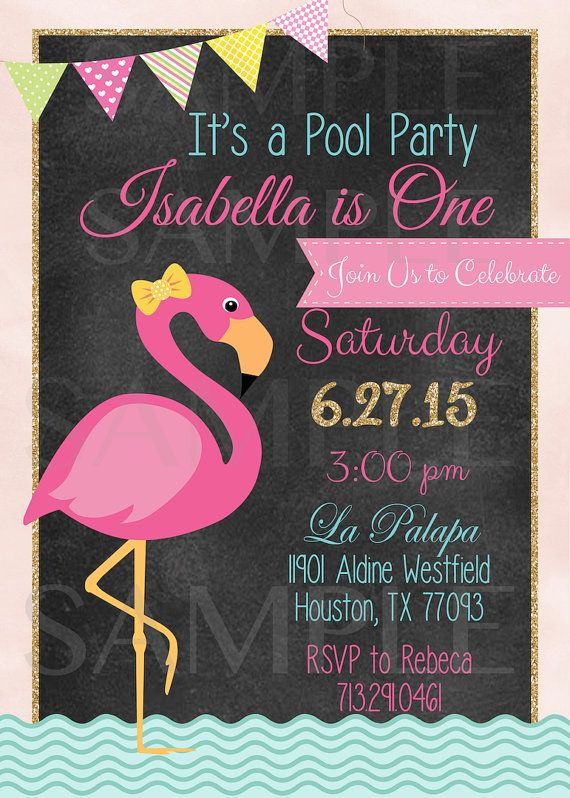 Pink Flamingo Pool Party Birthday Invitation by TheLovelyMemories