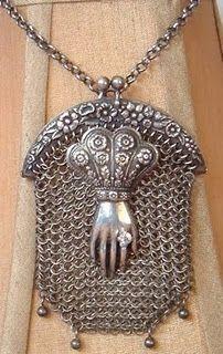 antique hand of grace chatelaine purse assemblage necklace