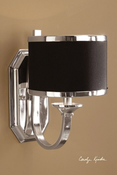 Tuxedo Silver U0026 Black Contemporary Wall Sconce   Treasurecombers