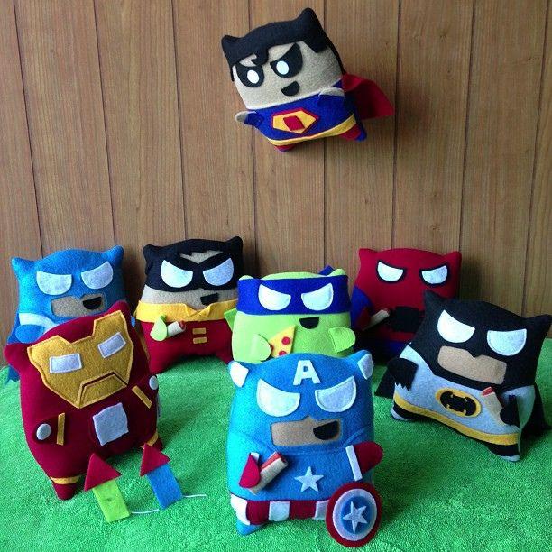 Superhero Pillow Fighters. Dang Superman looks kinda evil there....