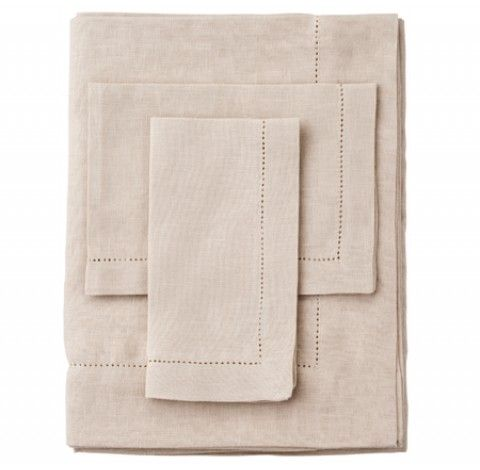 Pure Linen Oatmeal Tablelinen sourced by Ornella Botter Interiors.