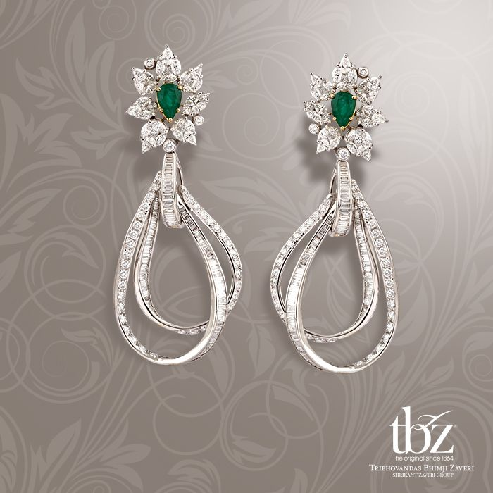 When in doubt, let these resplendent pair of diamond earrings with glorious emeralds ,do all  the talking.