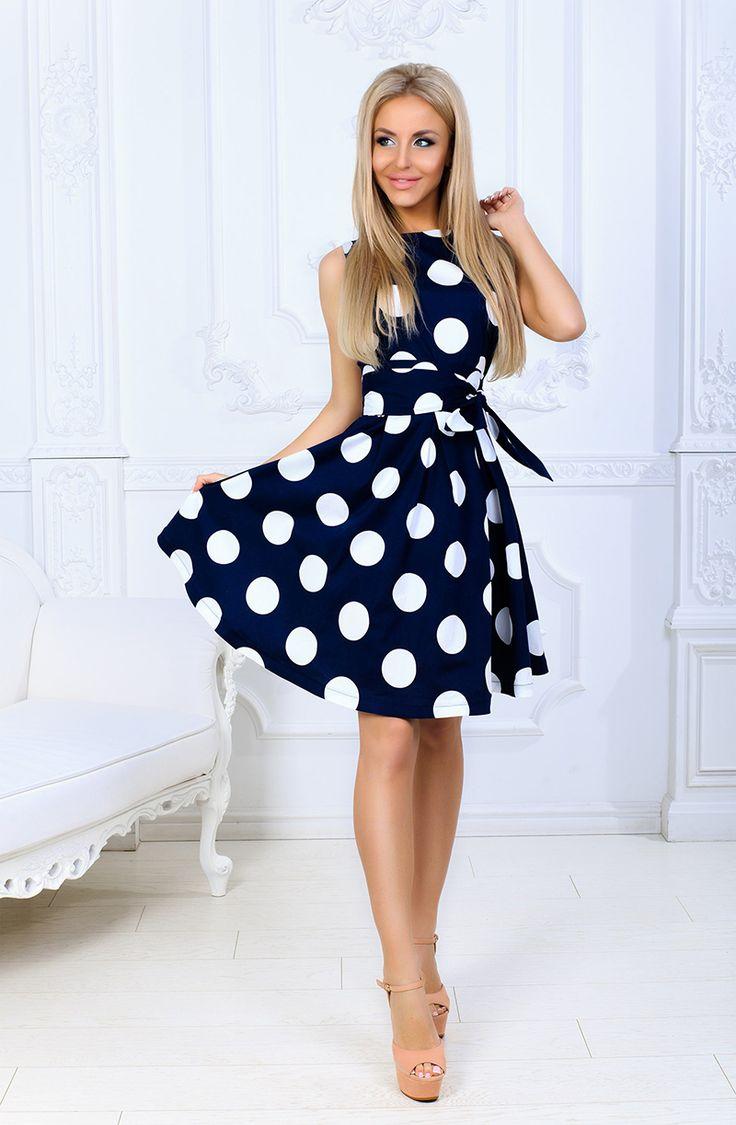 vintage polka dot printed casual dress o neck summer