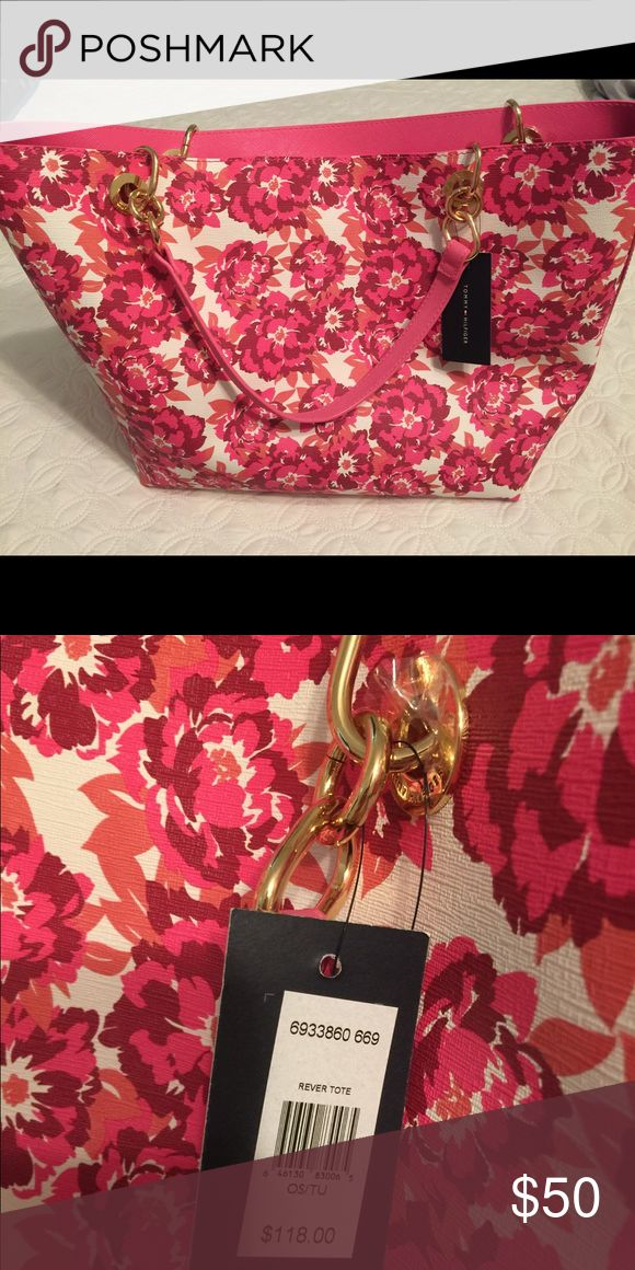 Tommy Hilfiger Pink Floral Purse Tote Bag NWT Tommy Hilfiger Pink Floral Purse Tote Bag NWT. Beautiful bag with gold chains on the straps. Tommy Hilfiger Bags