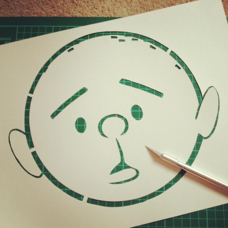 Karl Pilkington, Ricky Gervais show Handcut stencil #stencilart
