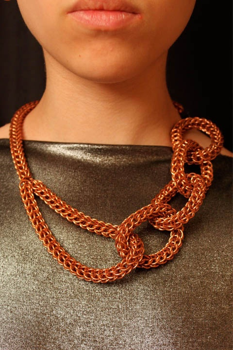 Chainmaille copper MetaMaille Necklace