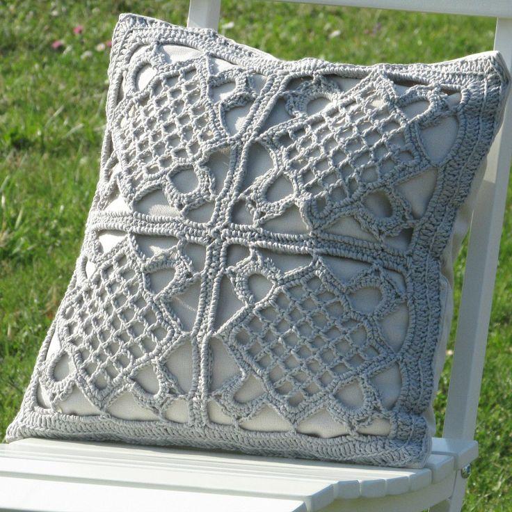 Crochet grey pillow