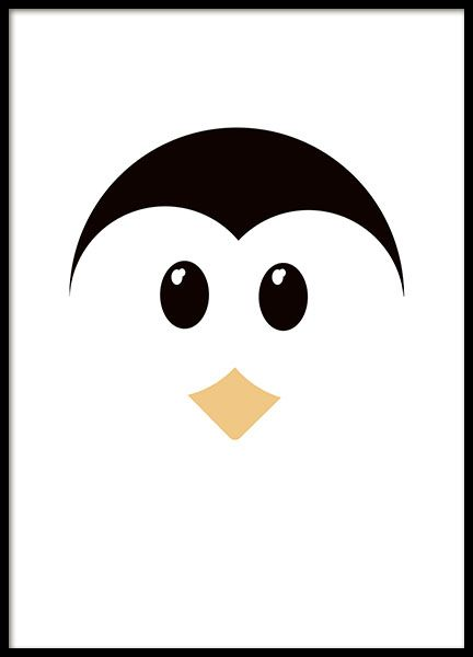 Print of a cute penguin with a graphical shape that looks really nice in the children's room. It is perfect to match with our panda poster in the same series and it looks great in a black frame. www,desenio.co.uk
