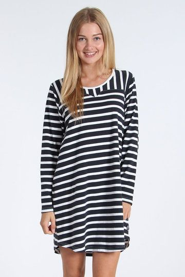 Throwing out more stripes than a convention for Where's Wally fans, the Lucy Dress from RPM is a lined delight of black and white, with contrast vertical stripes across the top yoke and detail stitching along both the chest and back shoulders.