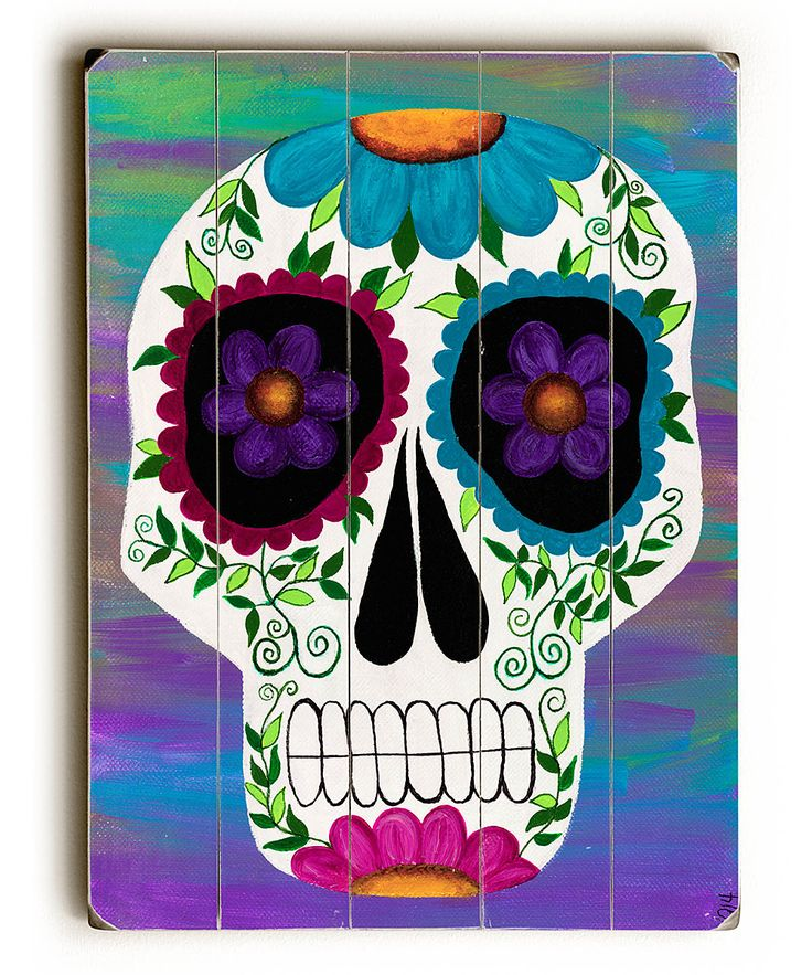 Day of the Dead Skull Art Wood Sign This Day of the Dead Skull Art wood sign by Artist Kerri Ambrosino will add a bright and colorful vibe to your holiday decor. The sign is a hand distressed planked