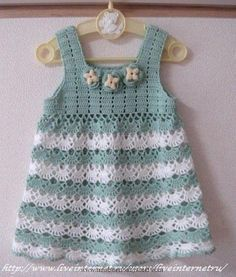 Crochet Baby Dress Crochet patterns free: Beautiful Dress With soft Colors Baby...