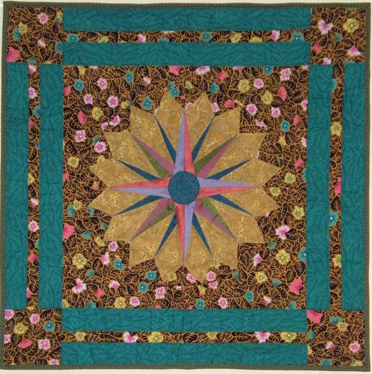My Silk Compass (only the points are raw silk). Picked up the colors from the Kaffe Fassett print: GP30 Leaves which is the background print. This appears in my book Paper Piecing Perfect Points, Martingale 2013