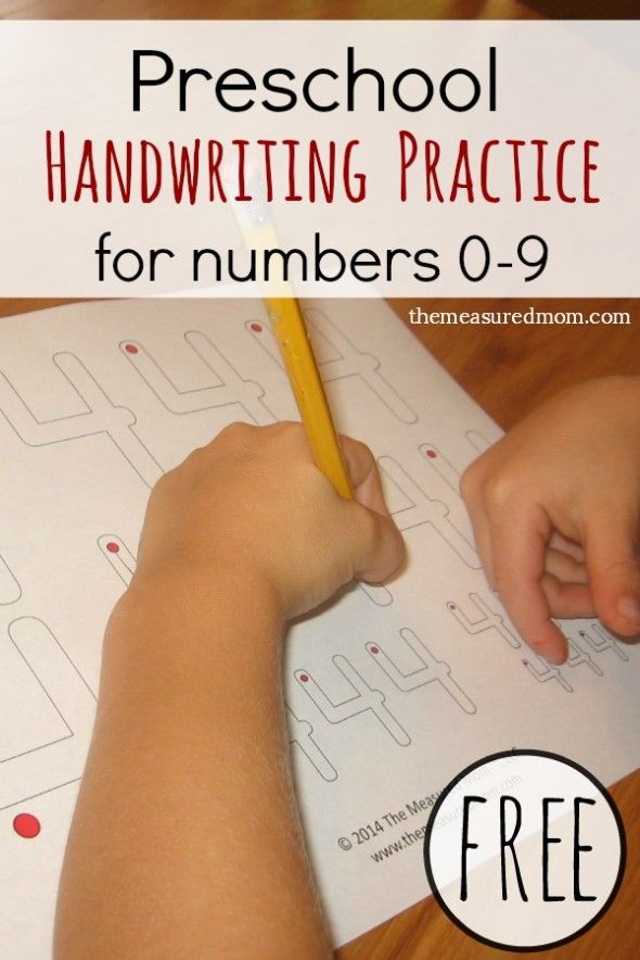 Free handwriting pages for preschool - writing numbers