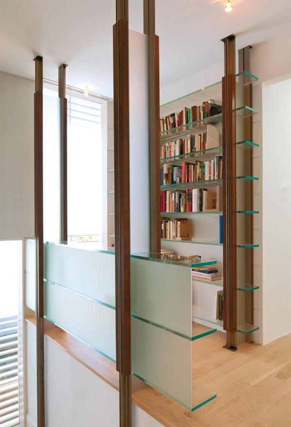 modern bookcases with glass shelves