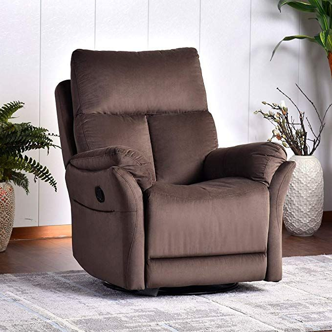 Rocker Recliner Chair, Soft Fabric Swivel Glider Recliner