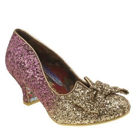 Womens Gold Irregular Choice Fancy That Glitter Low Heels