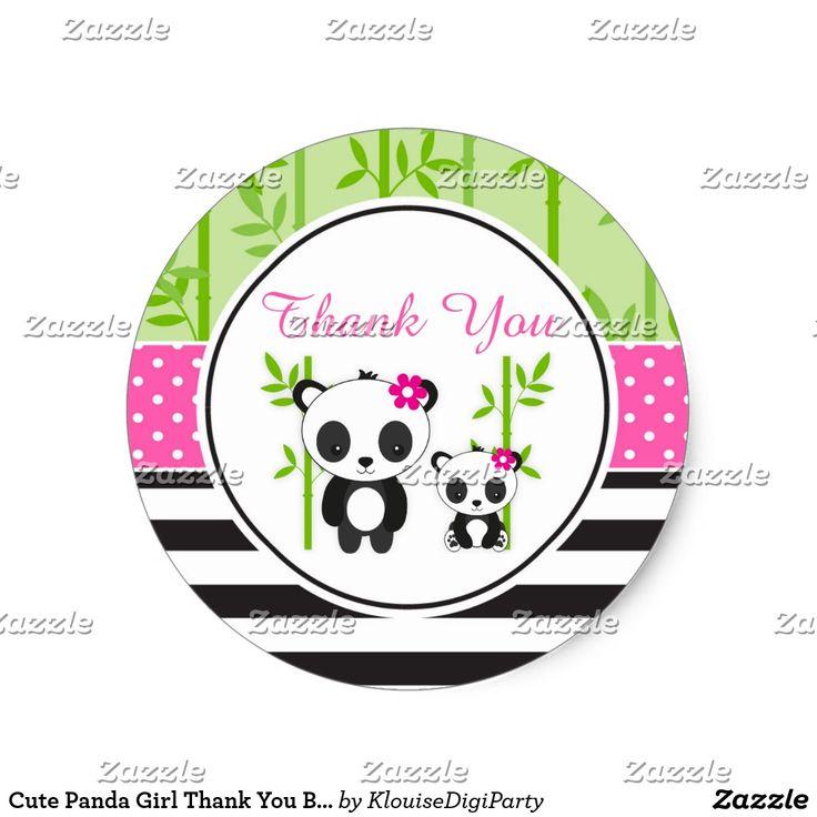 Cute Panda Girl Thank You Baby Shower Classic Round Sticker