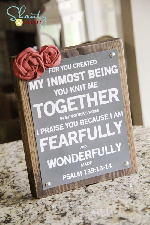 Bible verse printable on a piece of wood and decorate. Cute and easy!