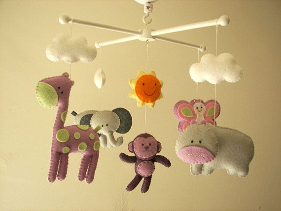 Baby crib mobile forest mobile animal mobile felt for Baby shapes mobile