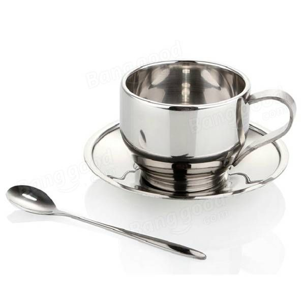 Stainless Steel Coffee Cup Set Double-deck Cavity Insulation Coffee Mug With Plate Spoon at Banggood