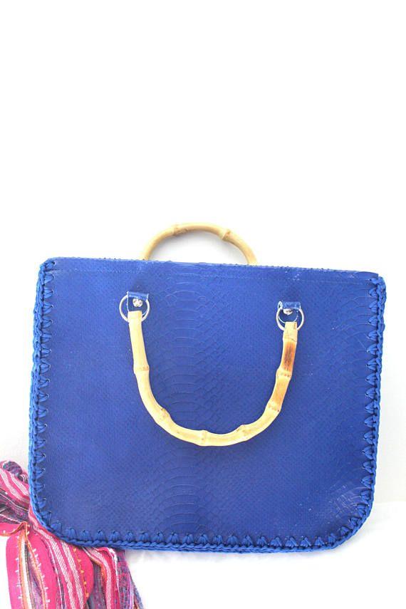 Blue top handle crocheted bag. Real Italian leather. Crochet